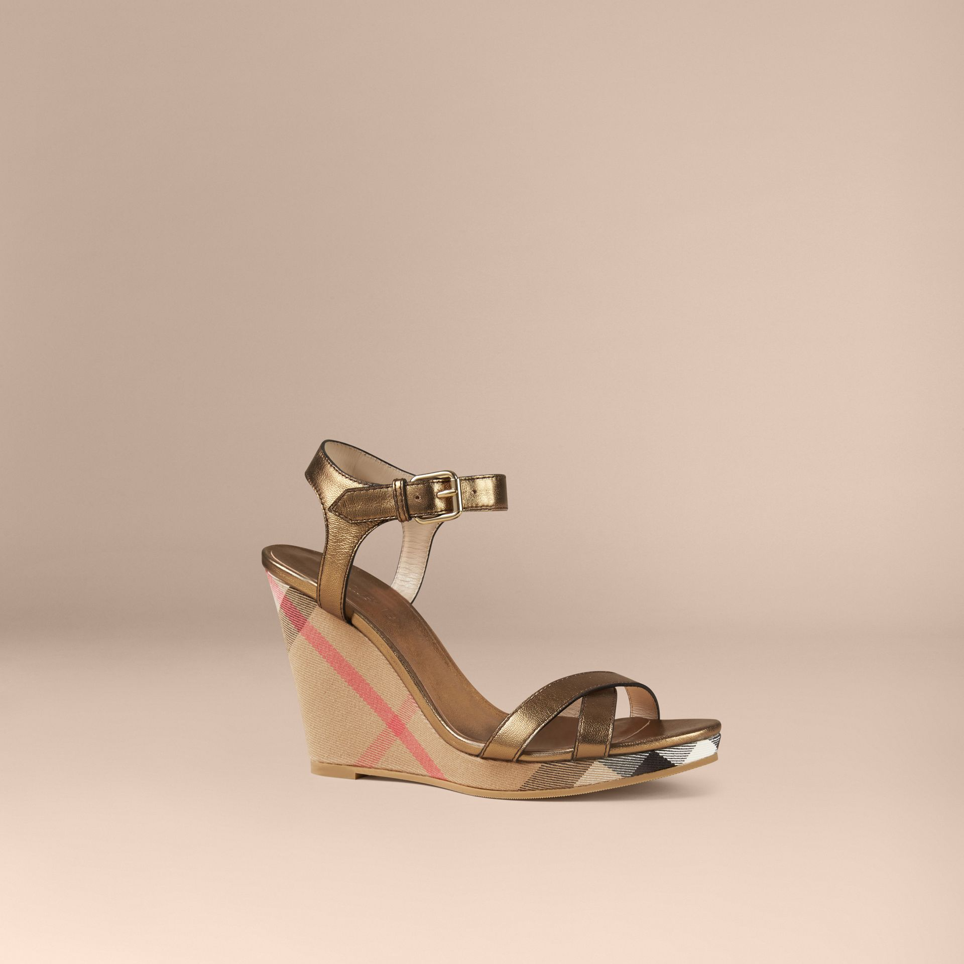 Heritage gold House Check and Metallic Leather Wedge Sandals - gallery image 1