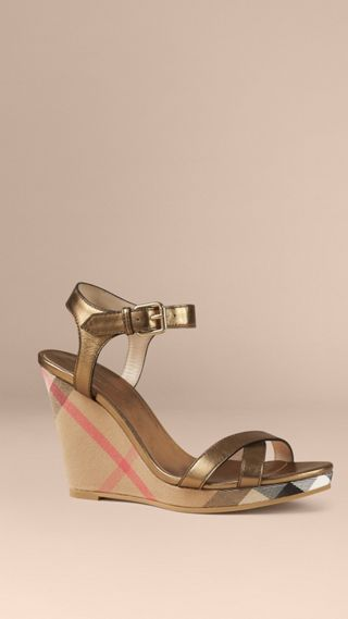 House Check and Metallic Leather Wedge Sandals