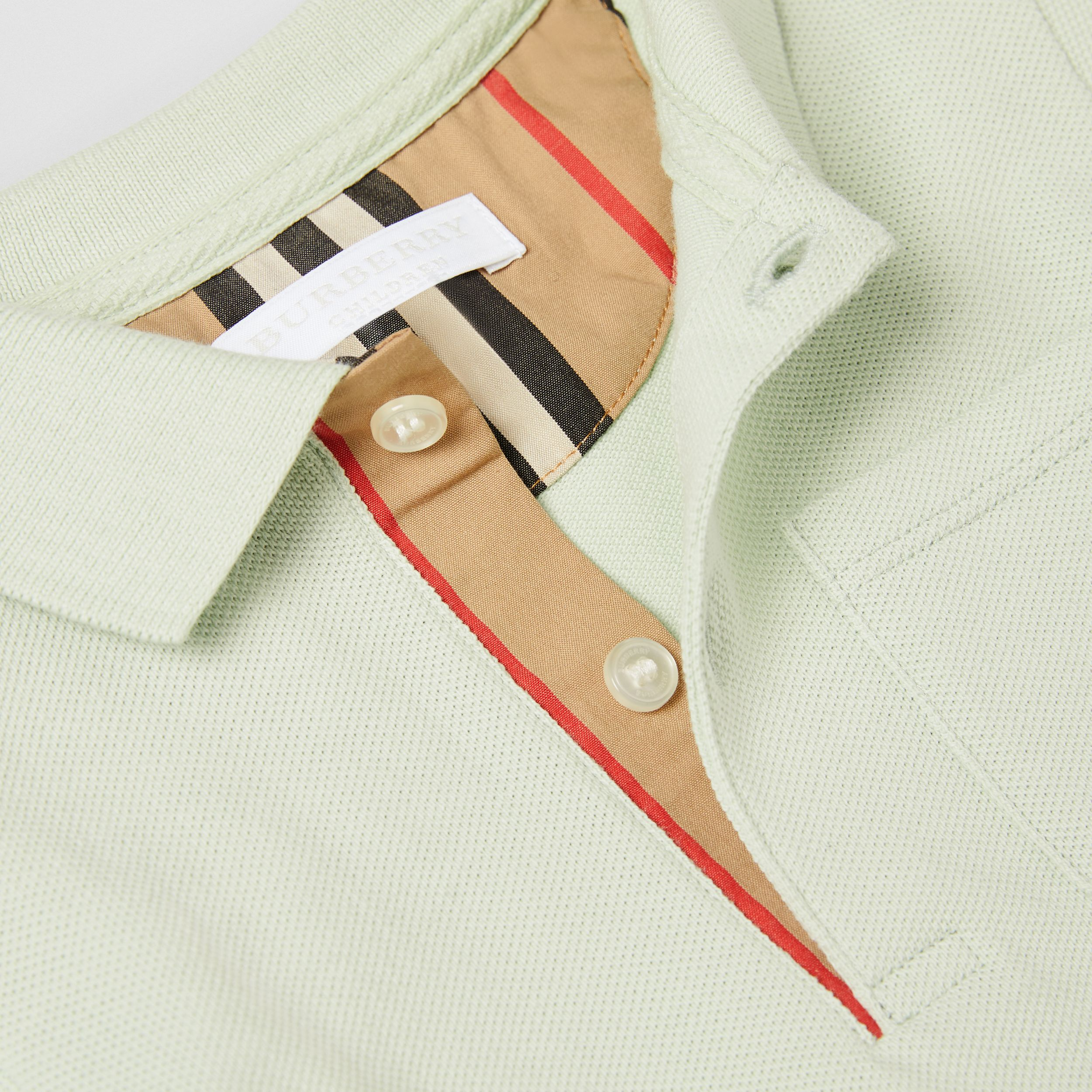 Icon Stripe Placket Cotton Piqué Polo Shirt in Pale Mint | Burberry - 2
