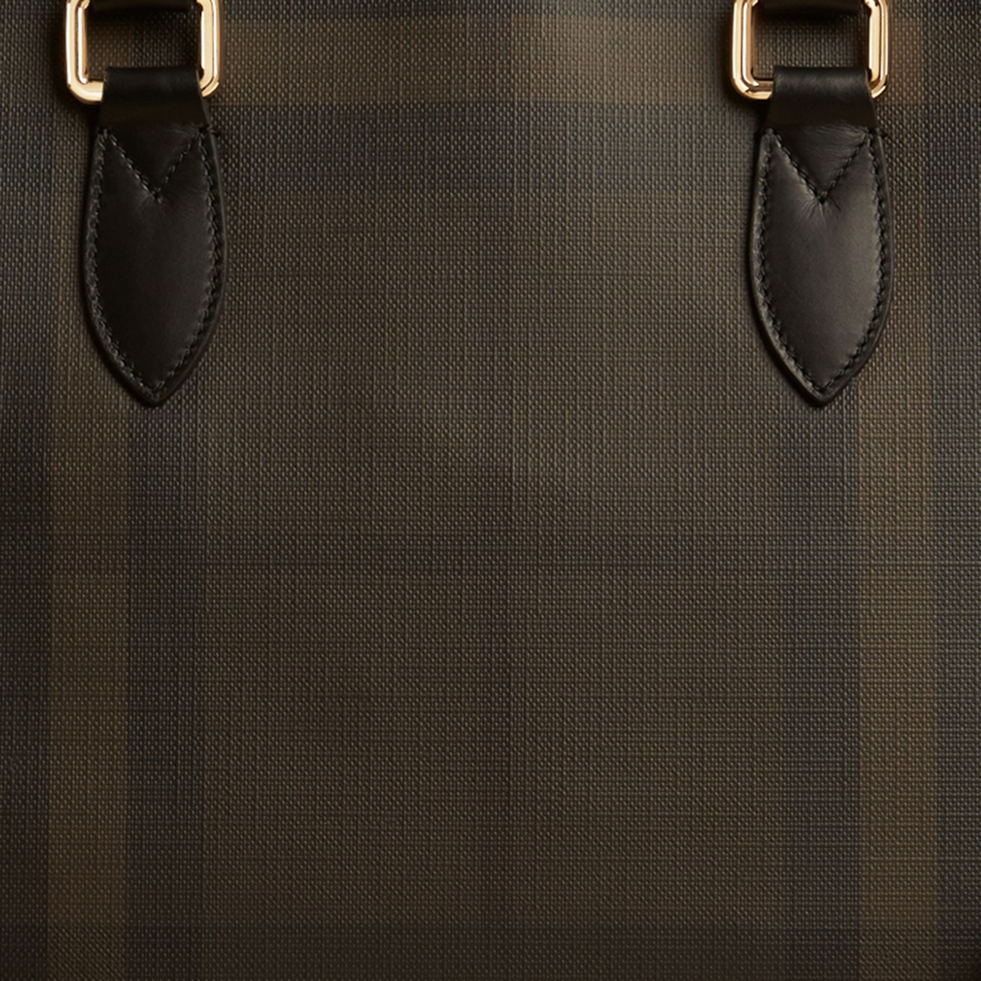 Medium Leather Trim London Check Briefcase in Chocolate/black - Men | Burberry - gallery image 2