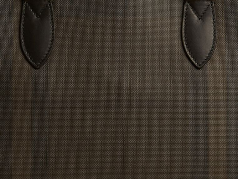 Medium Leather Trim London Check Briefcase in Chocolate/black - Men | Burberry - cell image 1