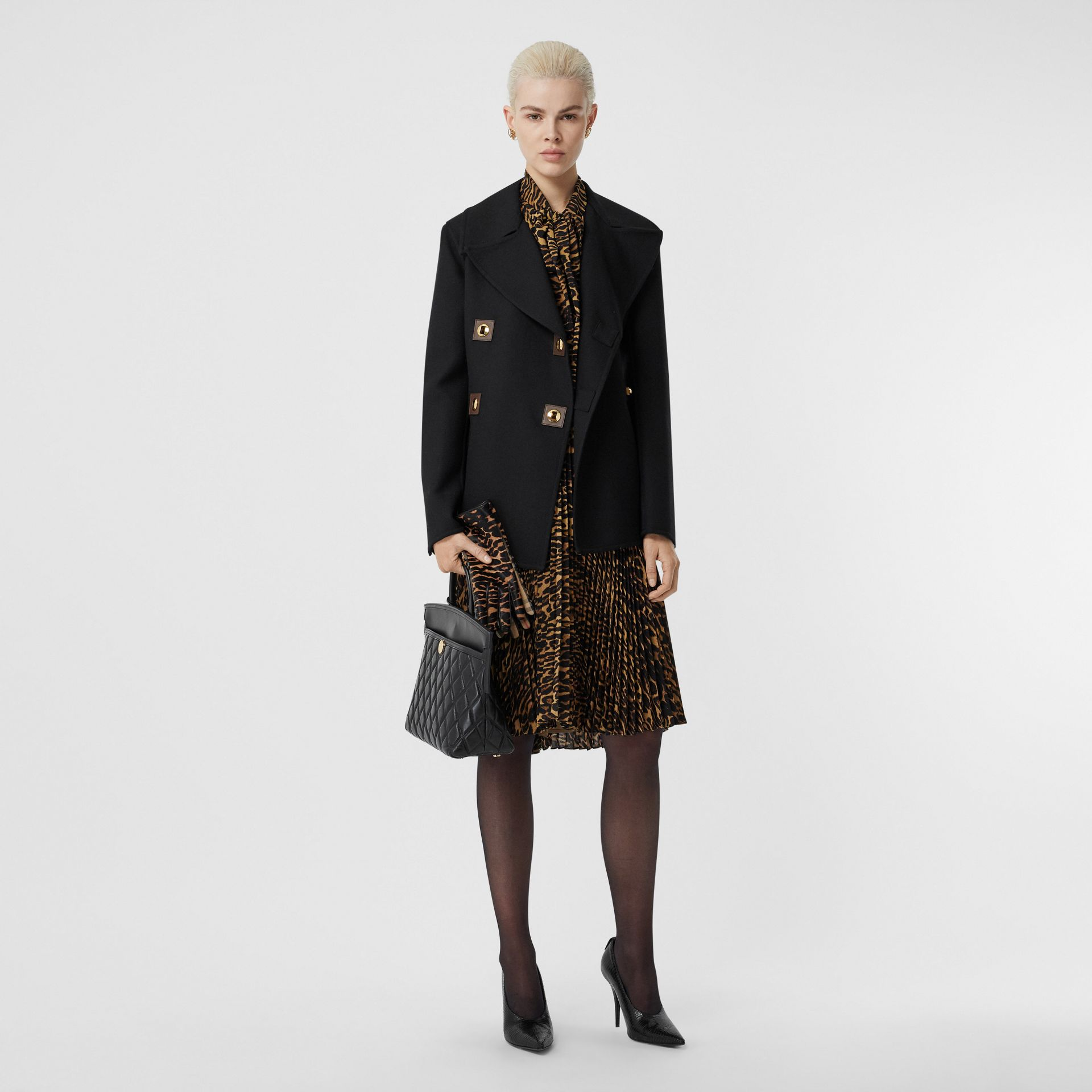 Double-faced Wool Pea Coat in Black - Women | Burberry United Kingdom - gallery image 0