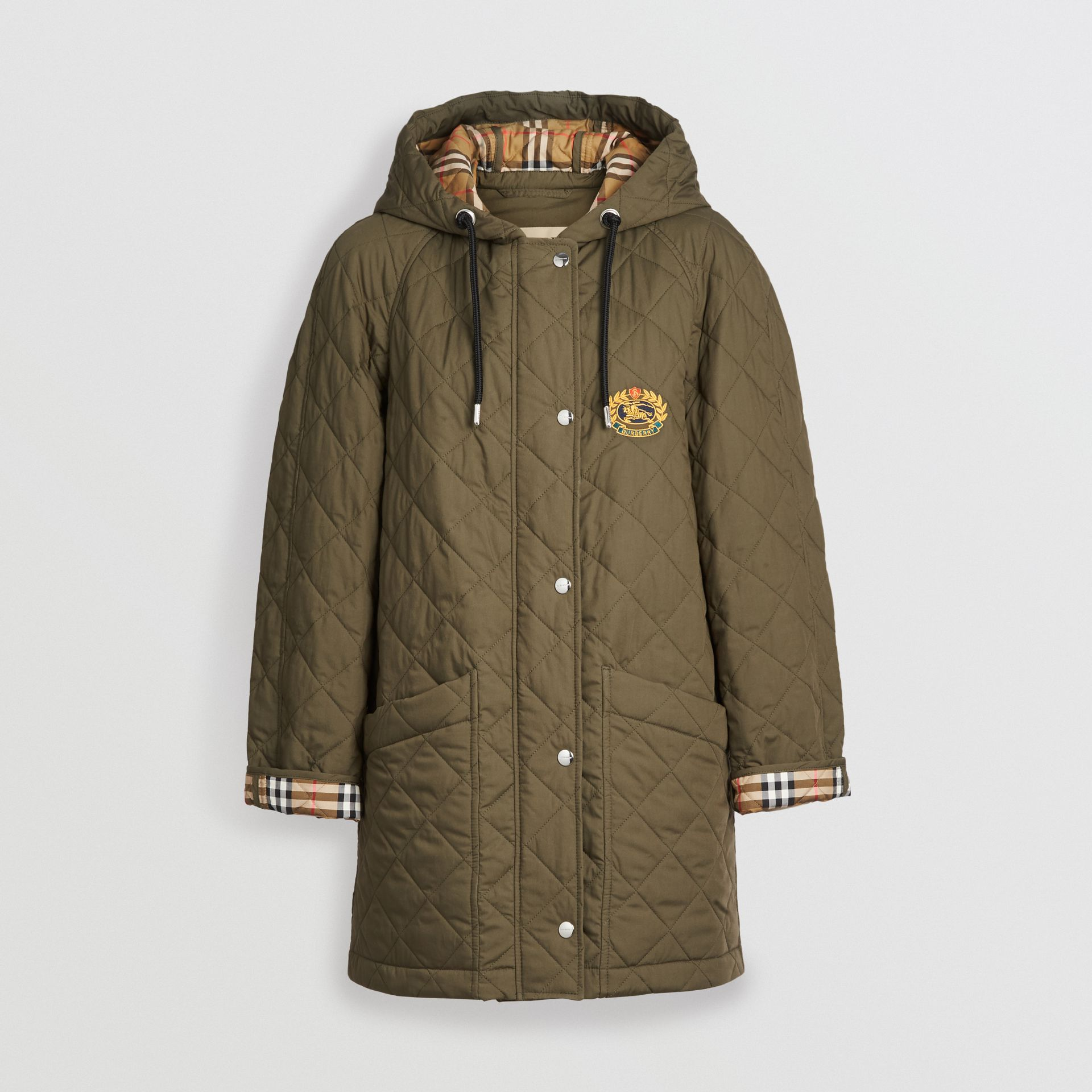 Lightweight Diamond Quilted Hooded Parka in Olive - Women | Burberry Singapore - gallery image 3