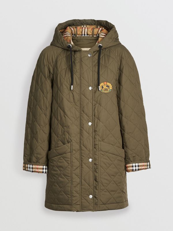 Diamond Quilted Oversized Hooded Parka in Olive - Women | Burberry - cell image 3