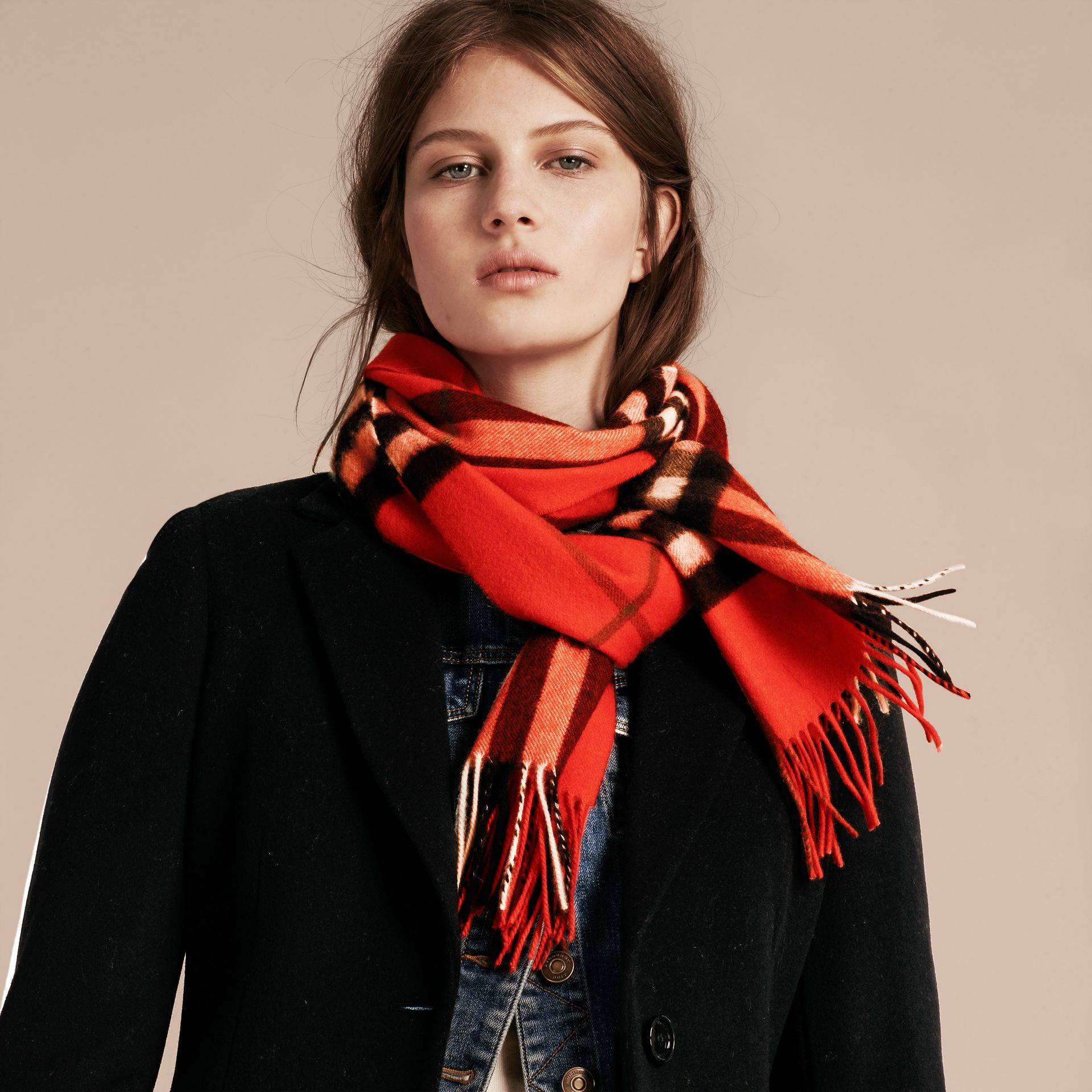 The Classic Cashmere Scarf in Check  Bright Orange Red - gallery image 3
