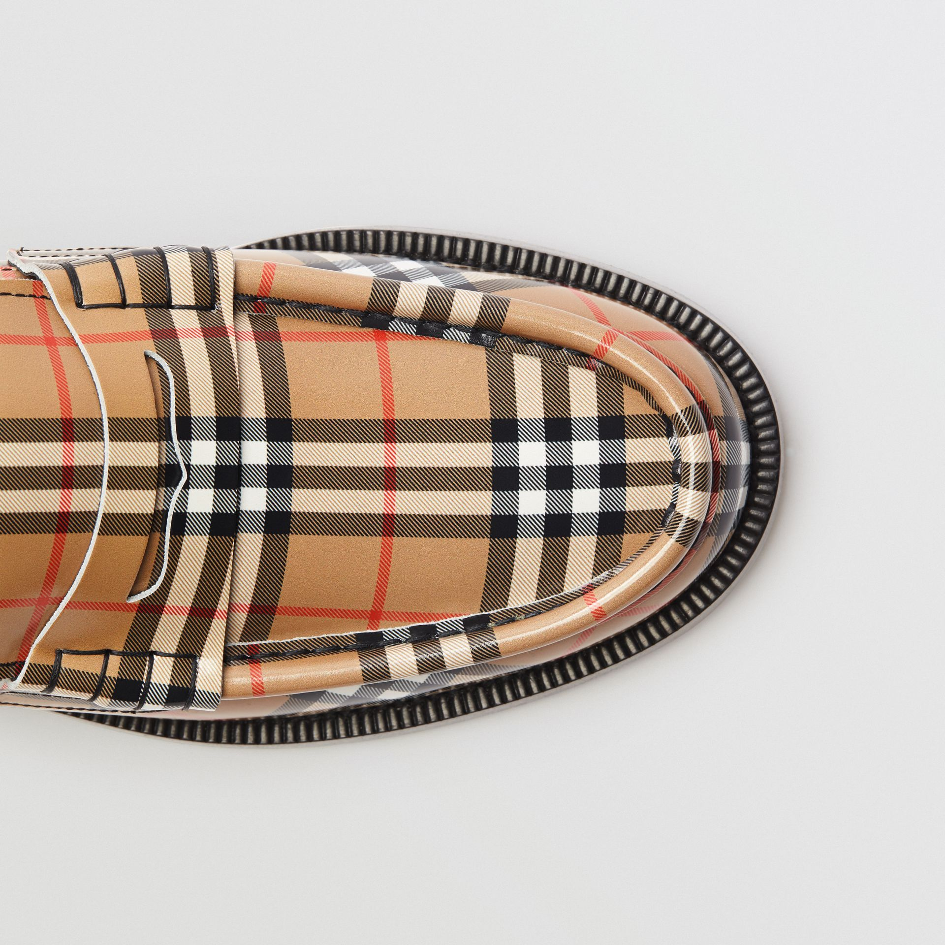 Gosha x Burberry Check Leather Loafers in Antique Yellow - Men | Burberry Australia - gallery image 6