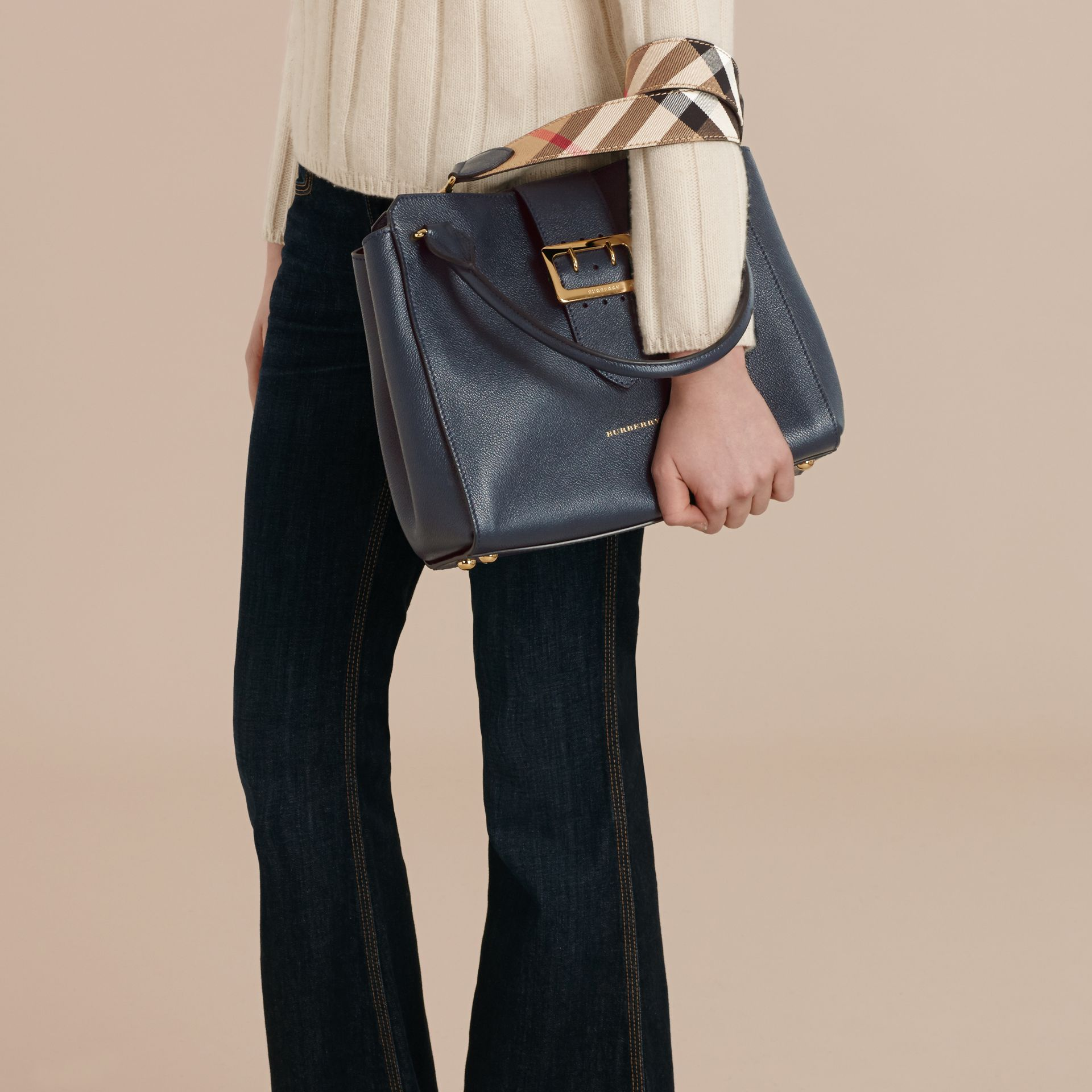 The Medium Buckle Tote in Grainy Leather Blue Carbon - gallery image 4