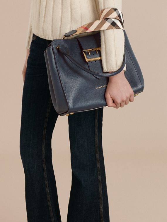 The Medium Buckle Tote in Grainy Leather in Blue Carbon - cell image 3