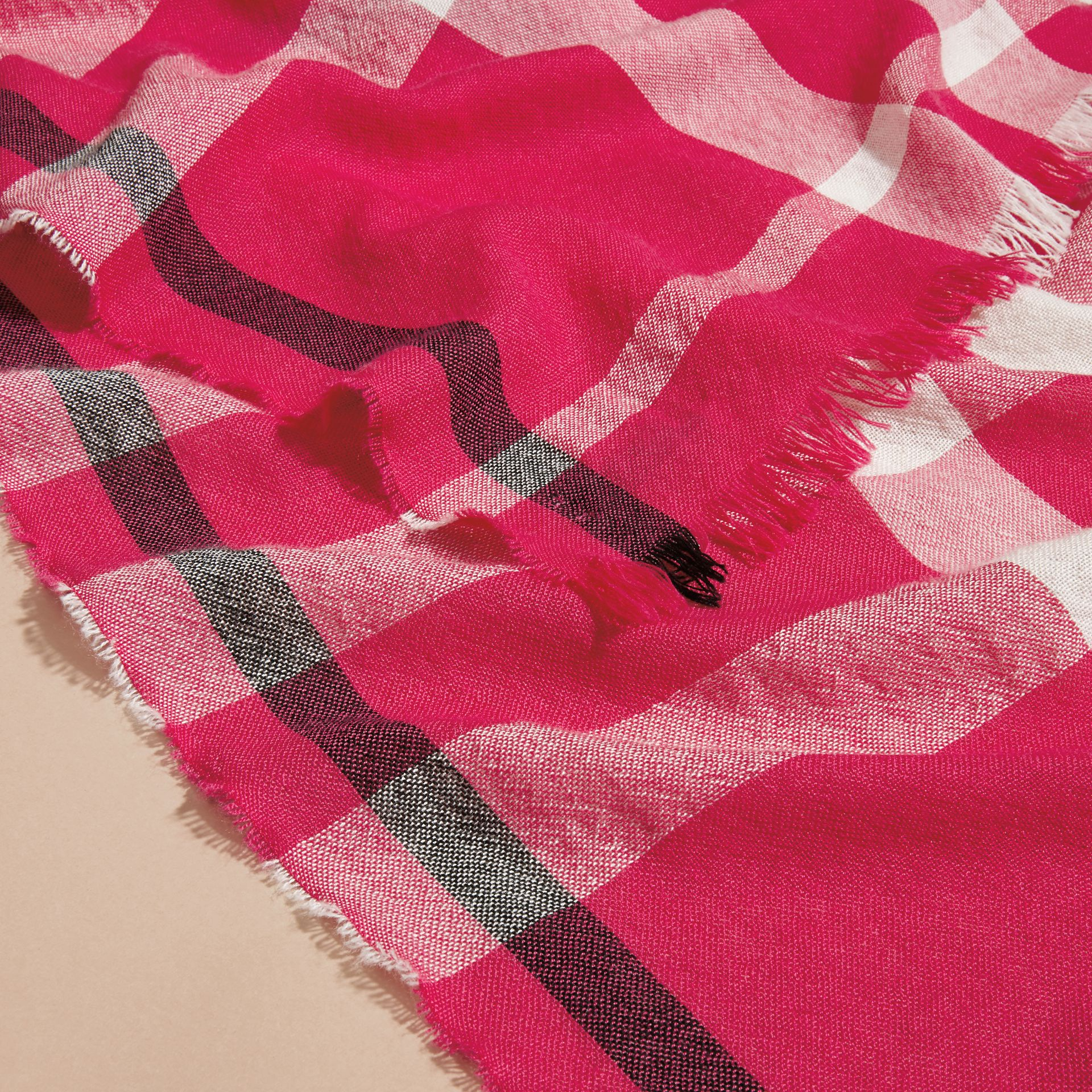 Bright pink Lightweight Check Wool Cashmere Scarf Bright Pink - gallery image 2