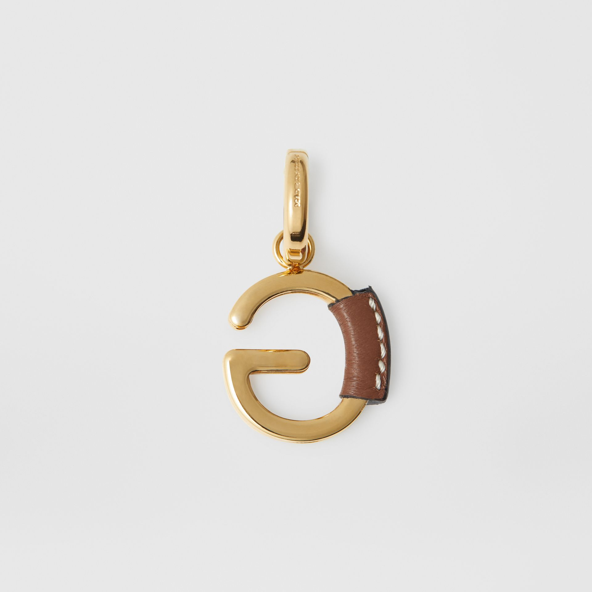 Leather-wrapped 'G' Alphabet Charm in Light Gold/tan - Women | Burberry United States - gallery image 3