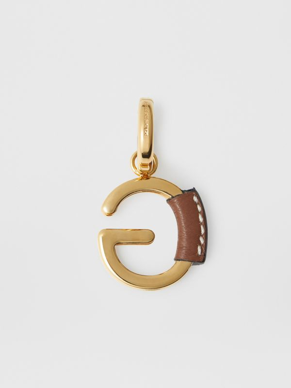 Leather-wrapped 'G' Alphabet Charm in Light Gold/tan - Women | Burberry - cell image 3