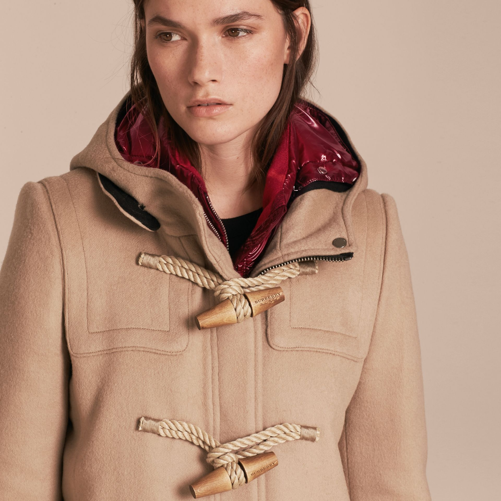 Wool Duffle Coat with Detachable Hooded Down-filled Warmer in Camel - gallery image 6