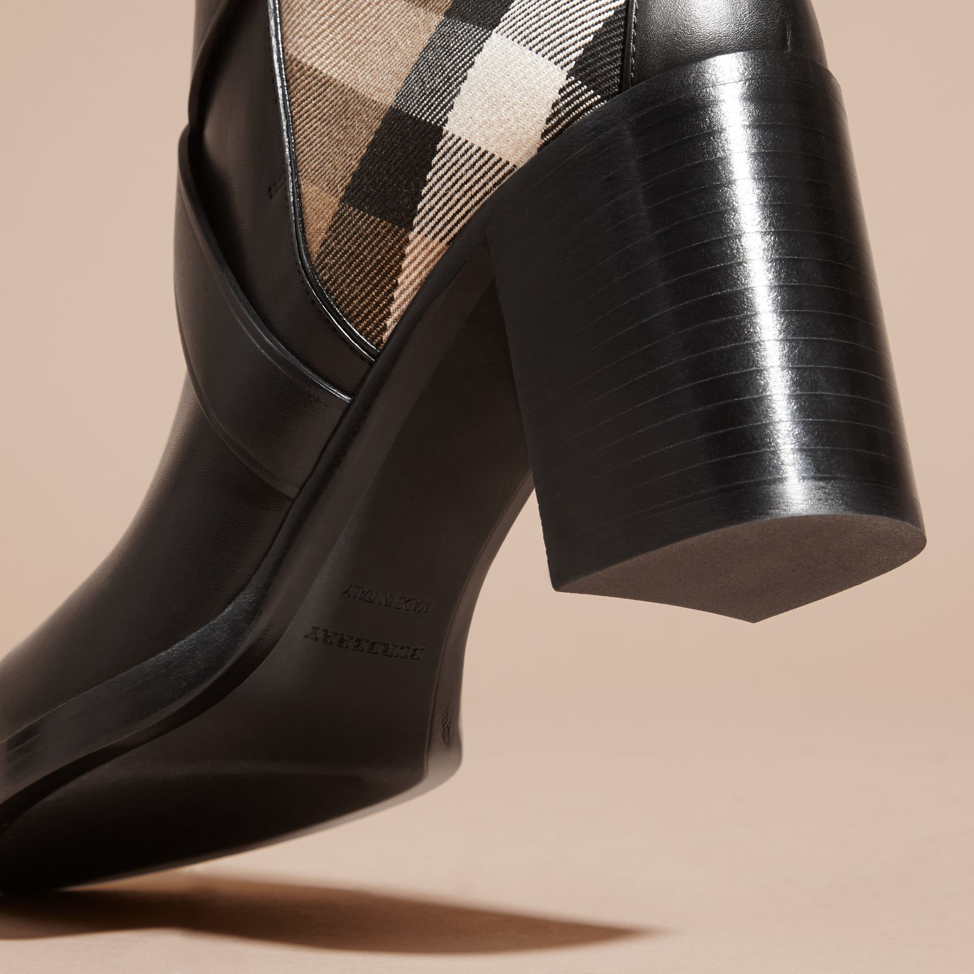 House Check and Leather Ankle Boots in Black - Women | Burberry - gallery image 4