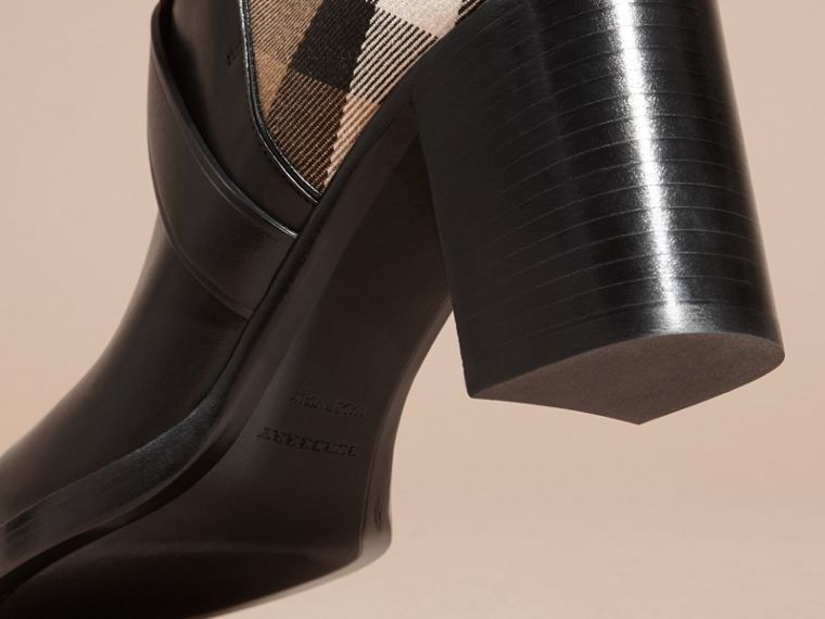 House Check and Leather Ankle Boots in Black - Women | Burberry - cell image 4