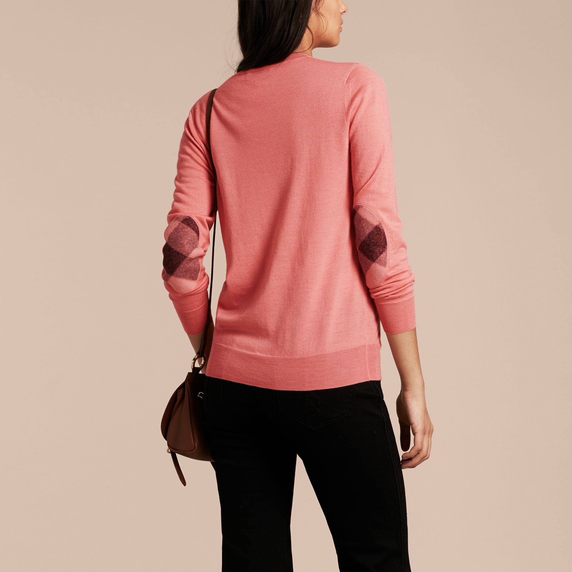 Pale rose pink Check Detail Merino Wool Crew Neck Sweater Pale Rose Pink - gallery image 3