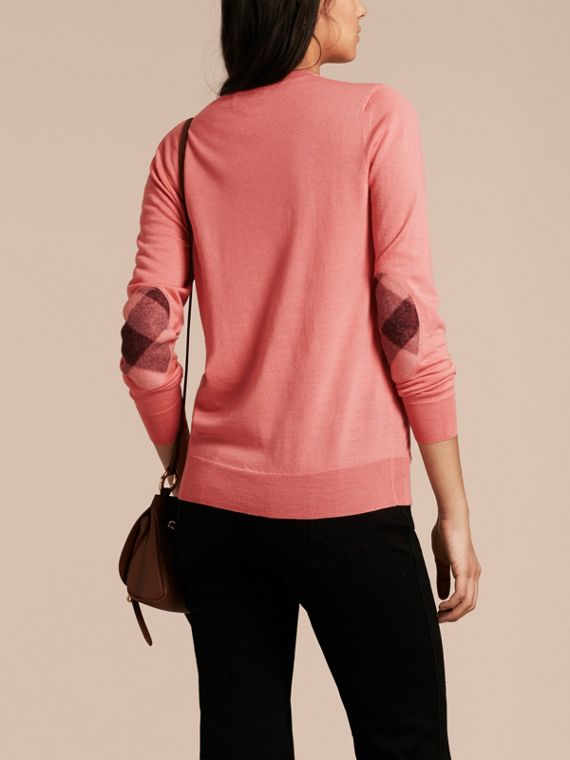 Check Detail Merino Wool Crew Neck Sweater in Pale Rose Pink - Women | Burberry - cell image 2