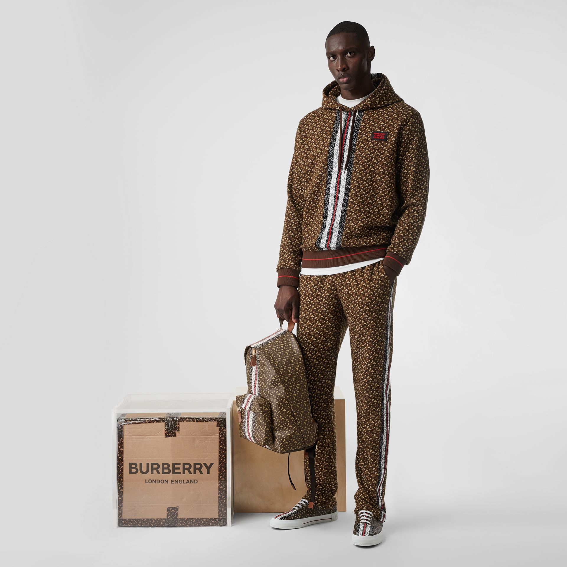 Monogram Stripe Print Cotton Trackpants in Bridle Brown - Men | Burberry - gallery image 5