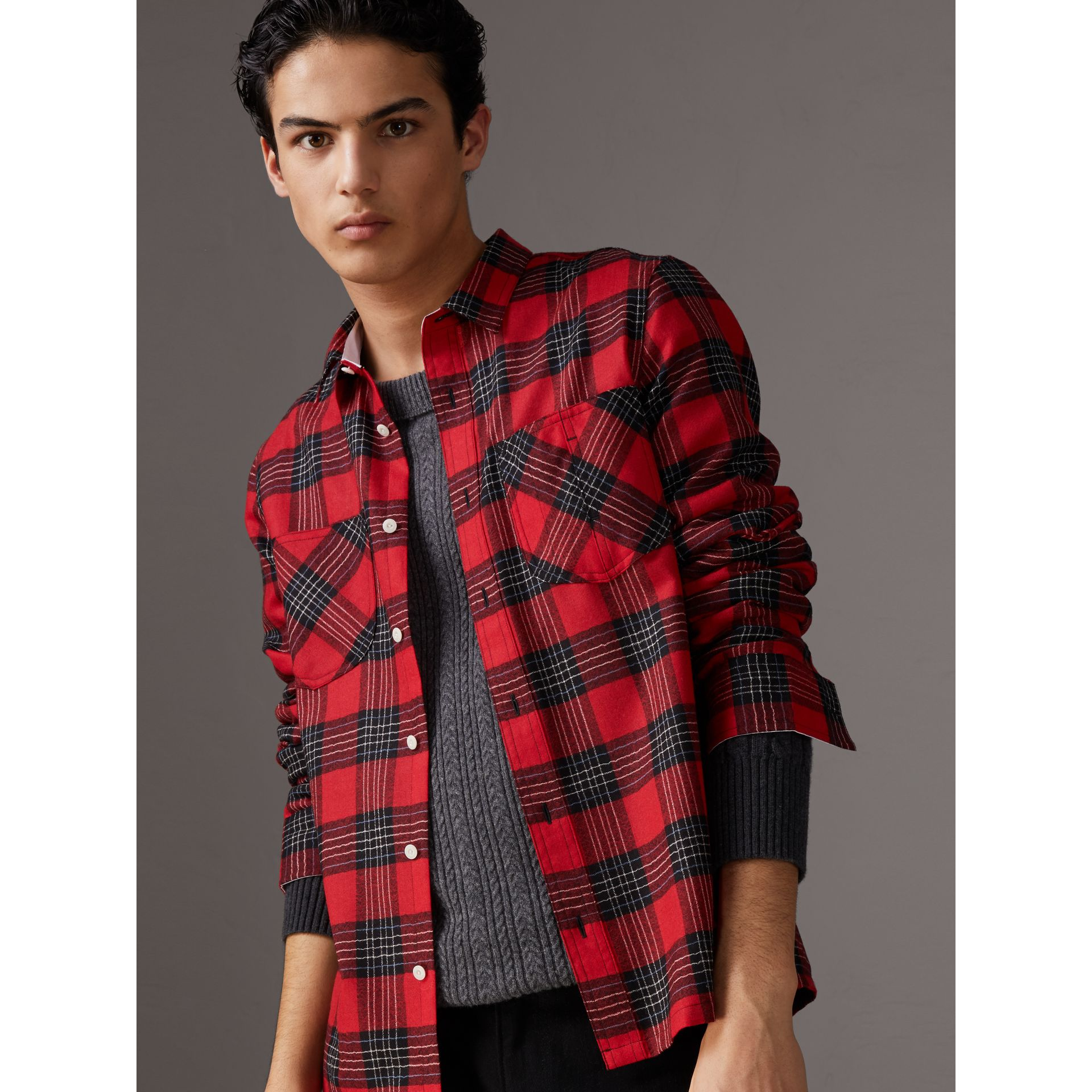 Tartan Wool Shirt in Parade Red - Men | Burberry - gallery image 1