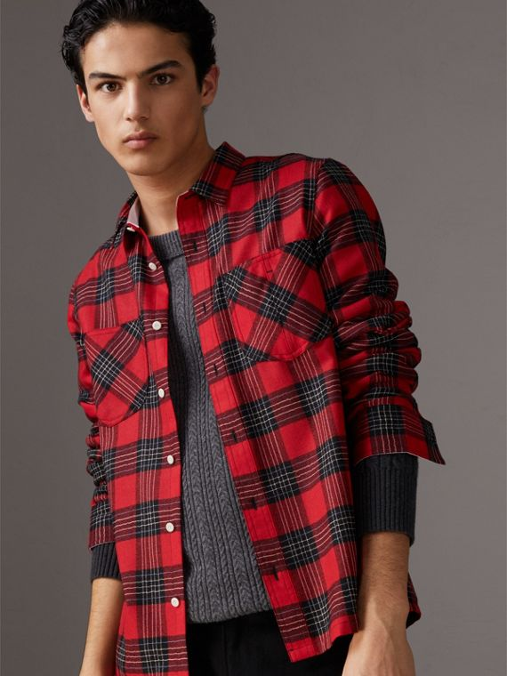 Tartan Wool Shirt in Parade Red