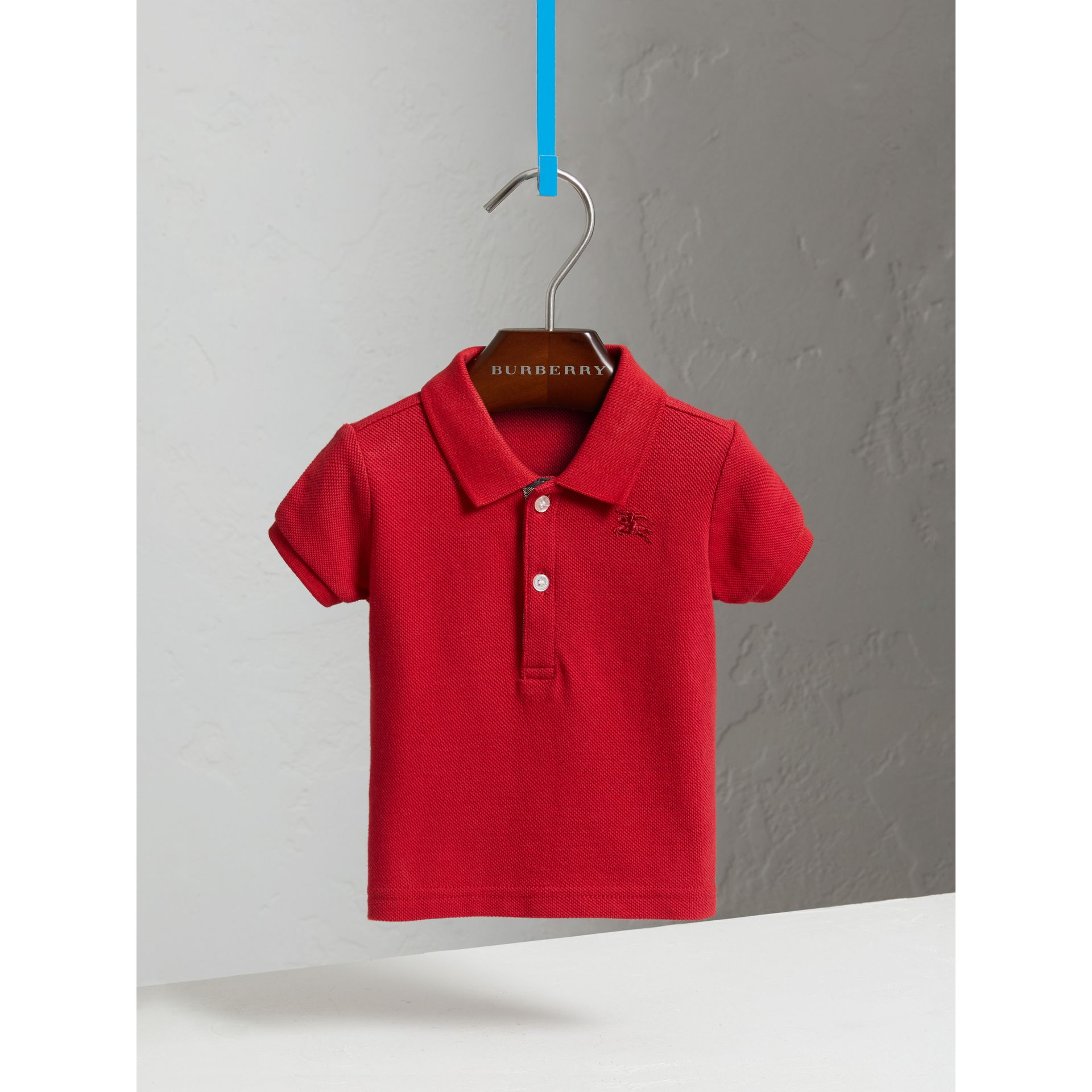 Cotton Piqué Polo Shirt in Military Red | Burberry - gallery image 2