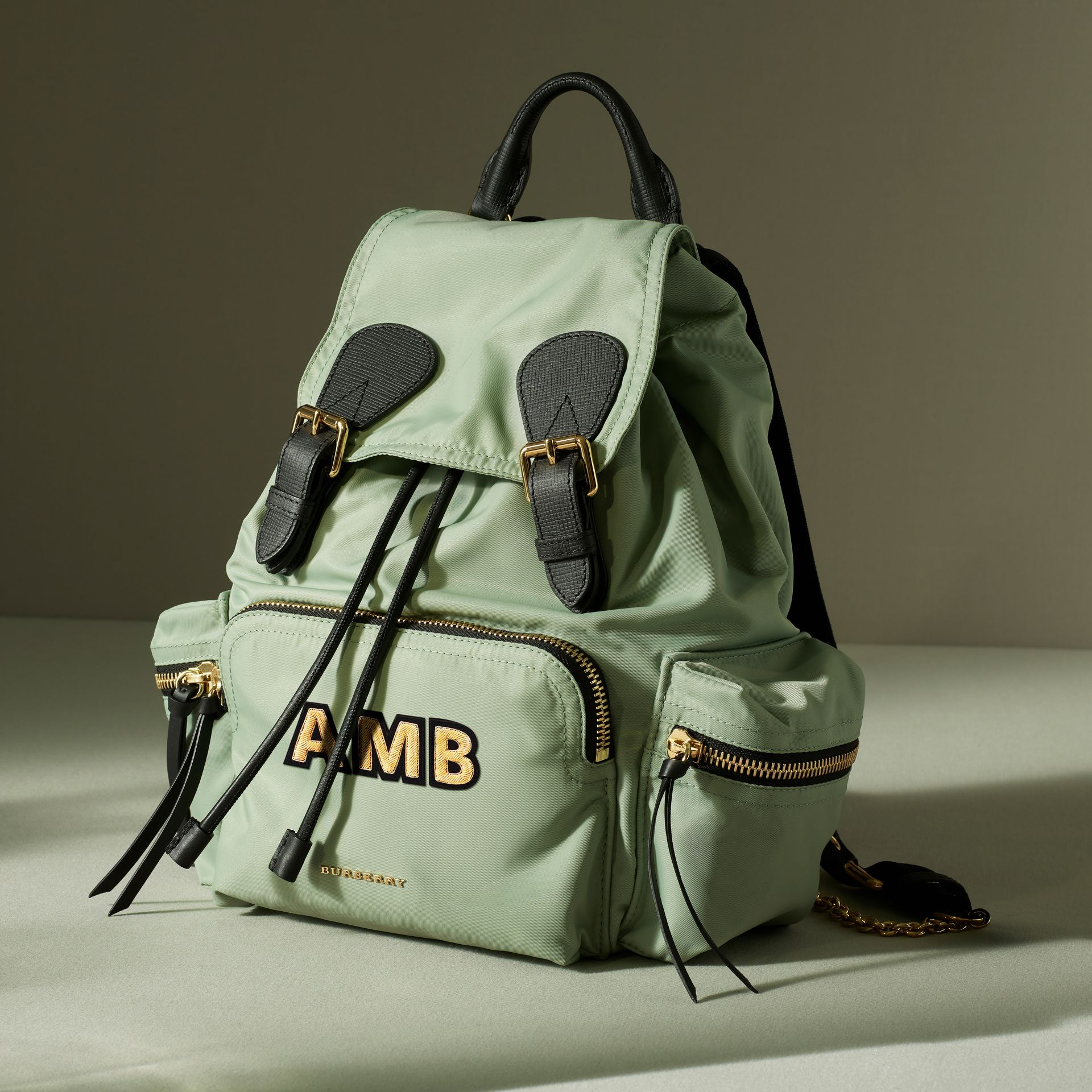 The Medium Rucksack in Technical Nylon and Leather in Apple Green - Women | Burberry - gallery image 7