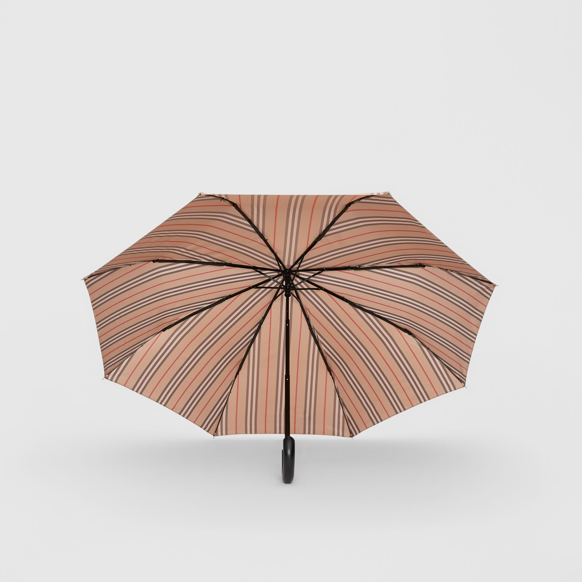 Icon Stripe Folding Umbrella in Camel | Burberry - gallery image 2