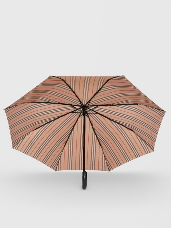 Icon Stripe Folding Umbrella in Camel | Burberry - cell image 2