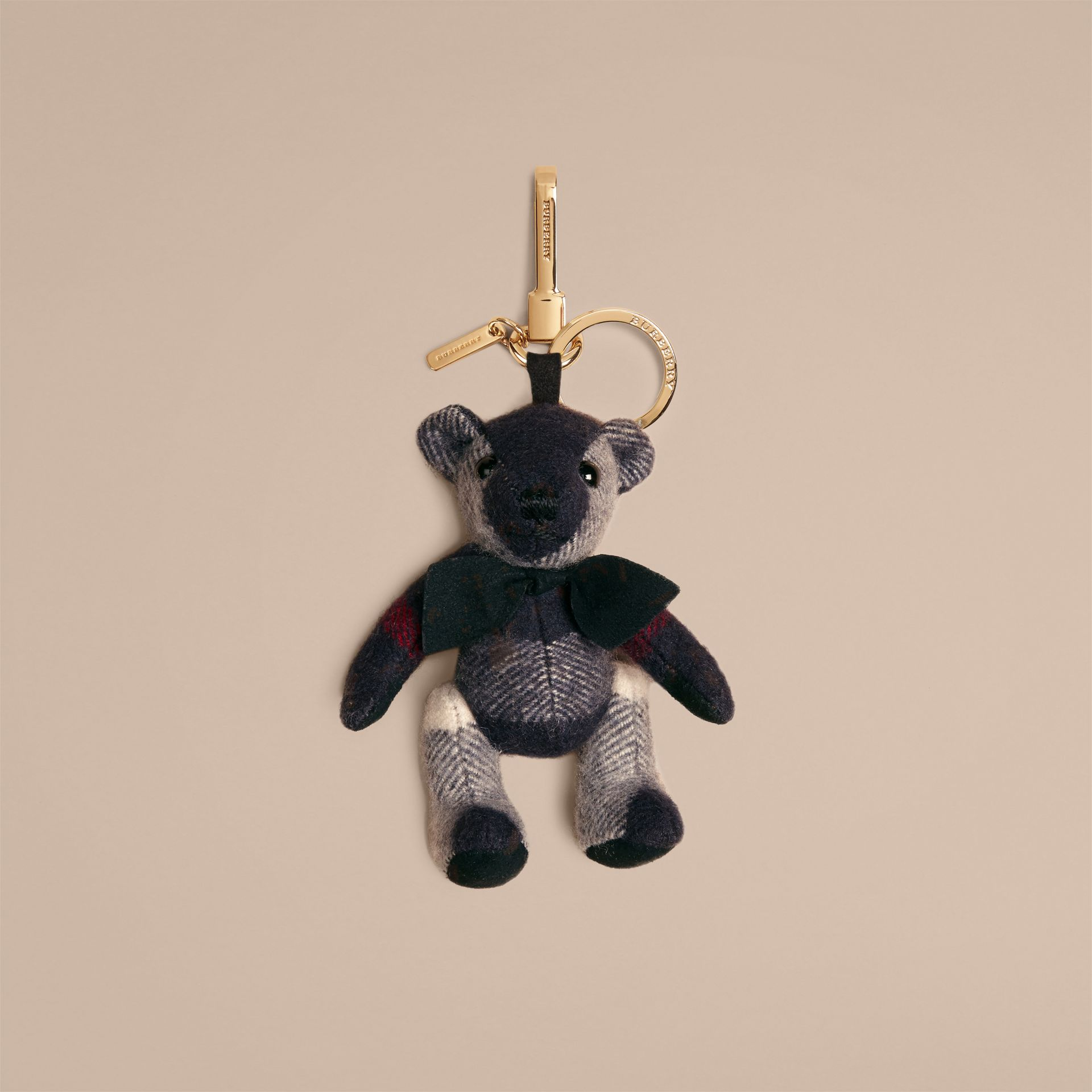 Thomas Bear Charm in Check Cashmere Navy - gallery image 1