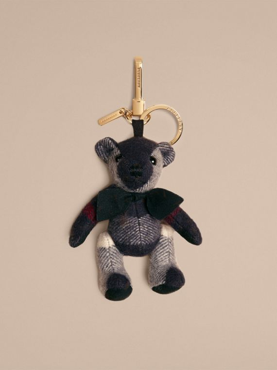 Thomas Bear Charm in Check Cashmere Navy