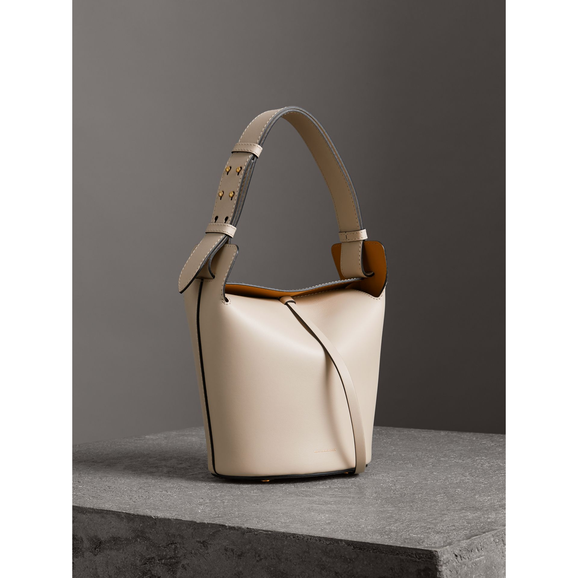 The Small Leather Bucket Bag in Limestone - Women | Burberry - gallery image 6