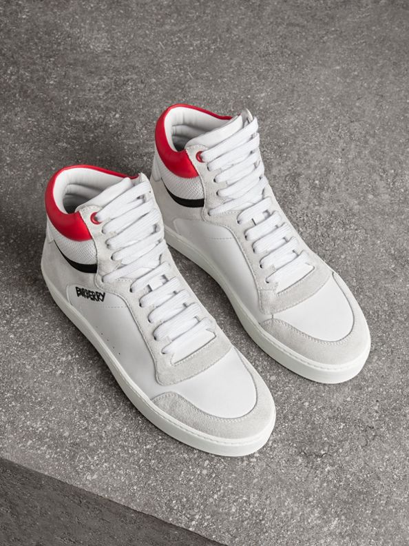 Leather and Suede High-top Sneakers in Optic White/bright Red