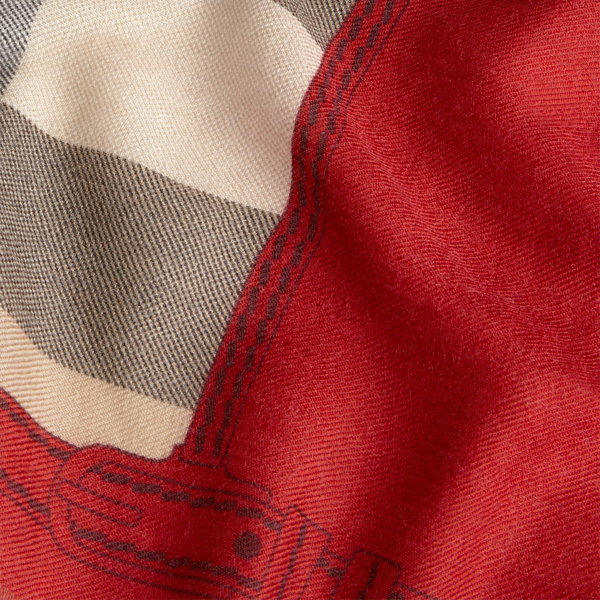 Contrast Border Horseferry Check Cashmere Scarf Parade Red - gallery image 2