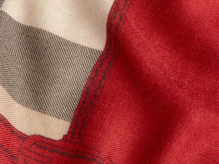 Contrast Border Horseferry Check Cashmere Scarf Parade Red - cell image 1