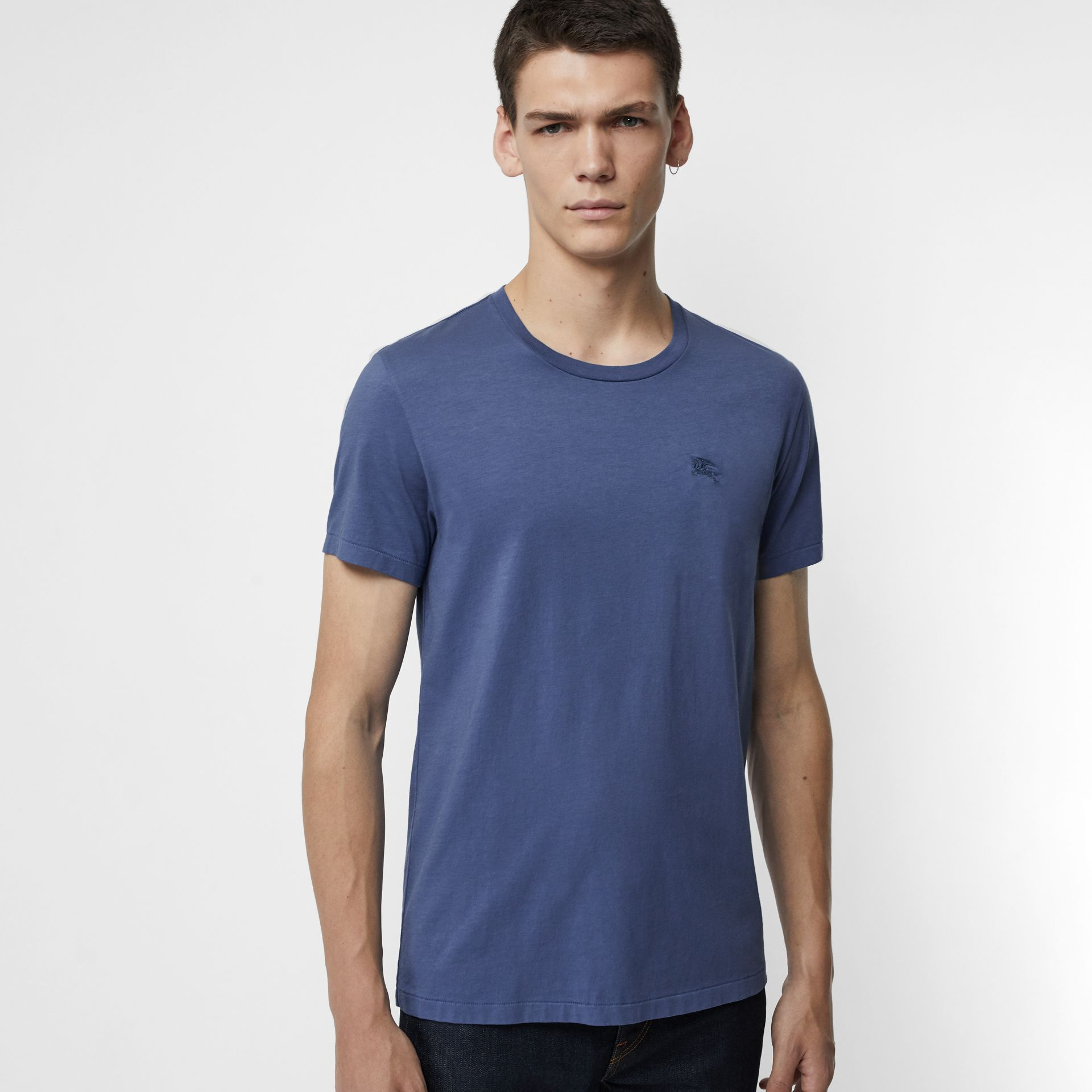 Cotton T-shirt in Pebble Blue - Men | Burberry - gallery image 0