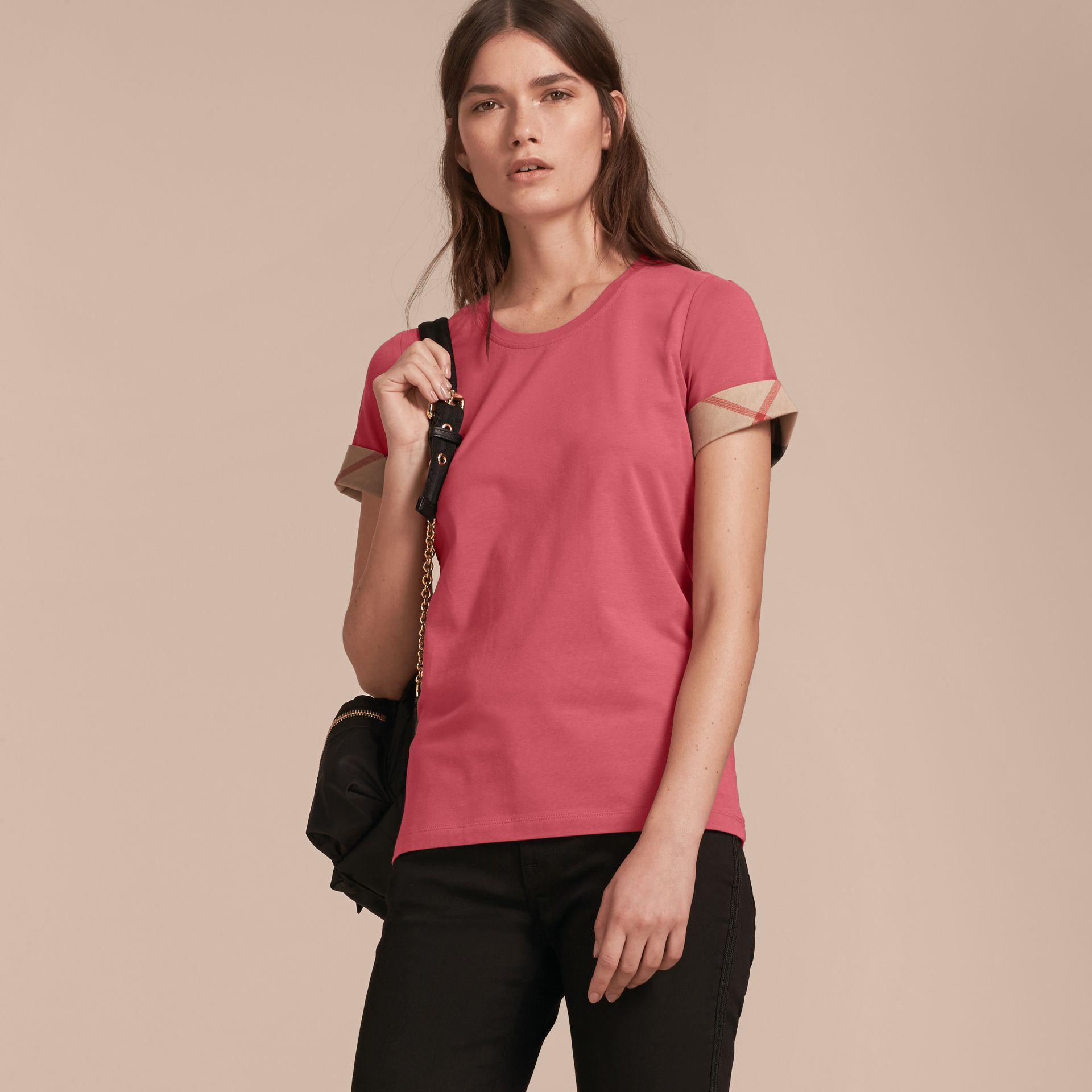 Check Trim Stretch Cotton T-shirt Pink Azalea - gallery image 6