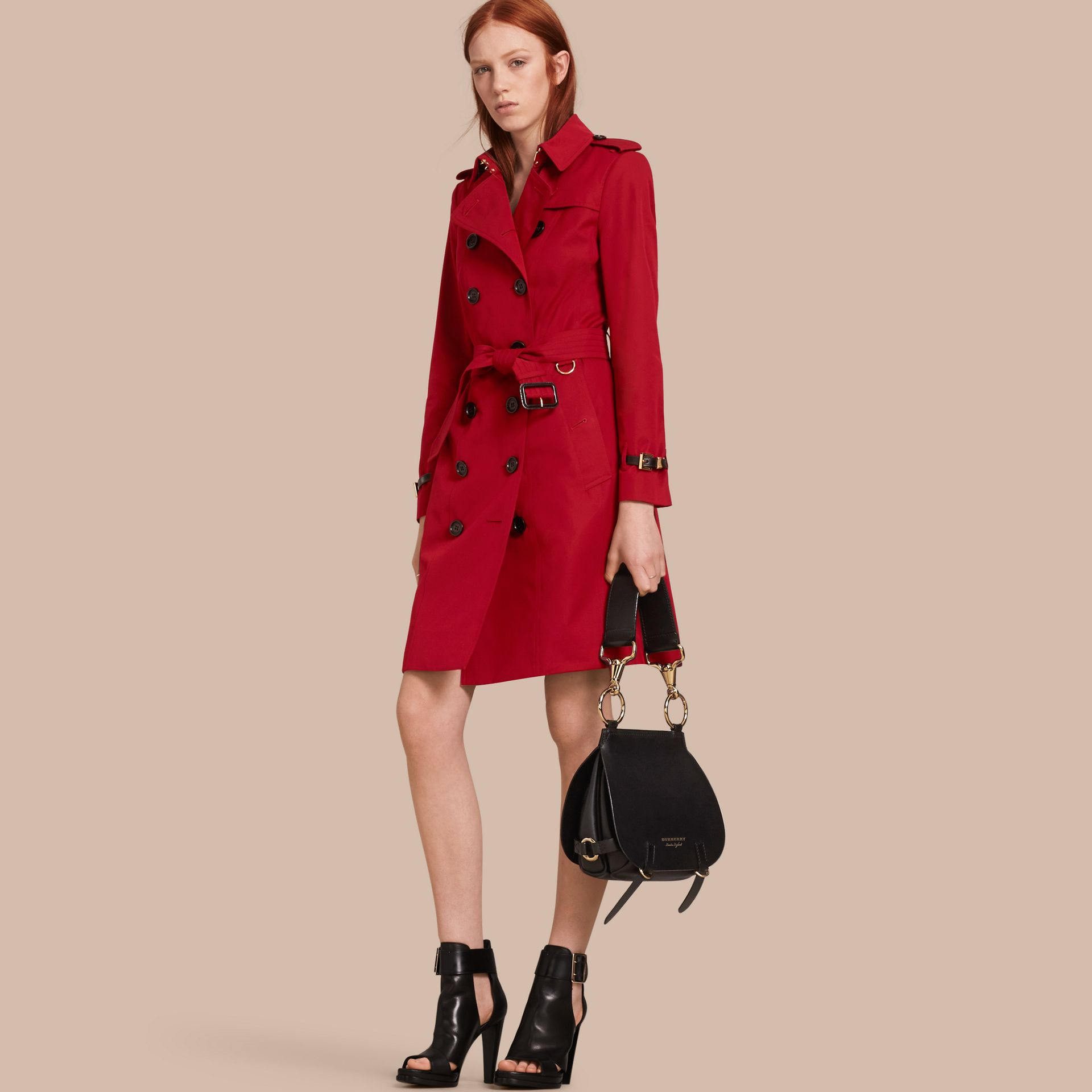 Leather Trim Cotton Gabardine Trench Coat Parade Red - gallery image 1