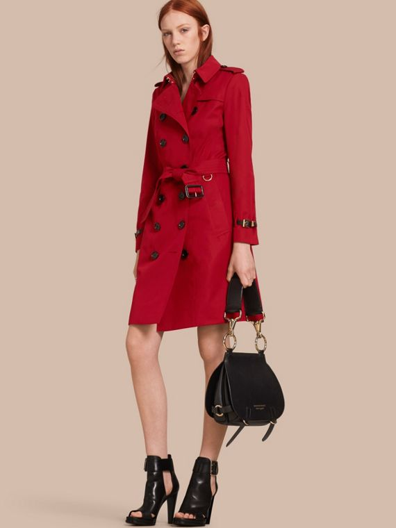 Leather Trim Cotton Gabardine Trench Coat Parade Red