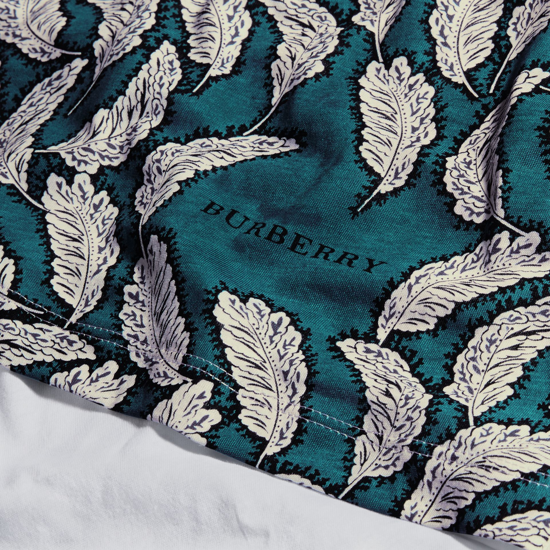 Teal blue Leaf Print Cotton T-shirt Teal Blue - gallery image 2
