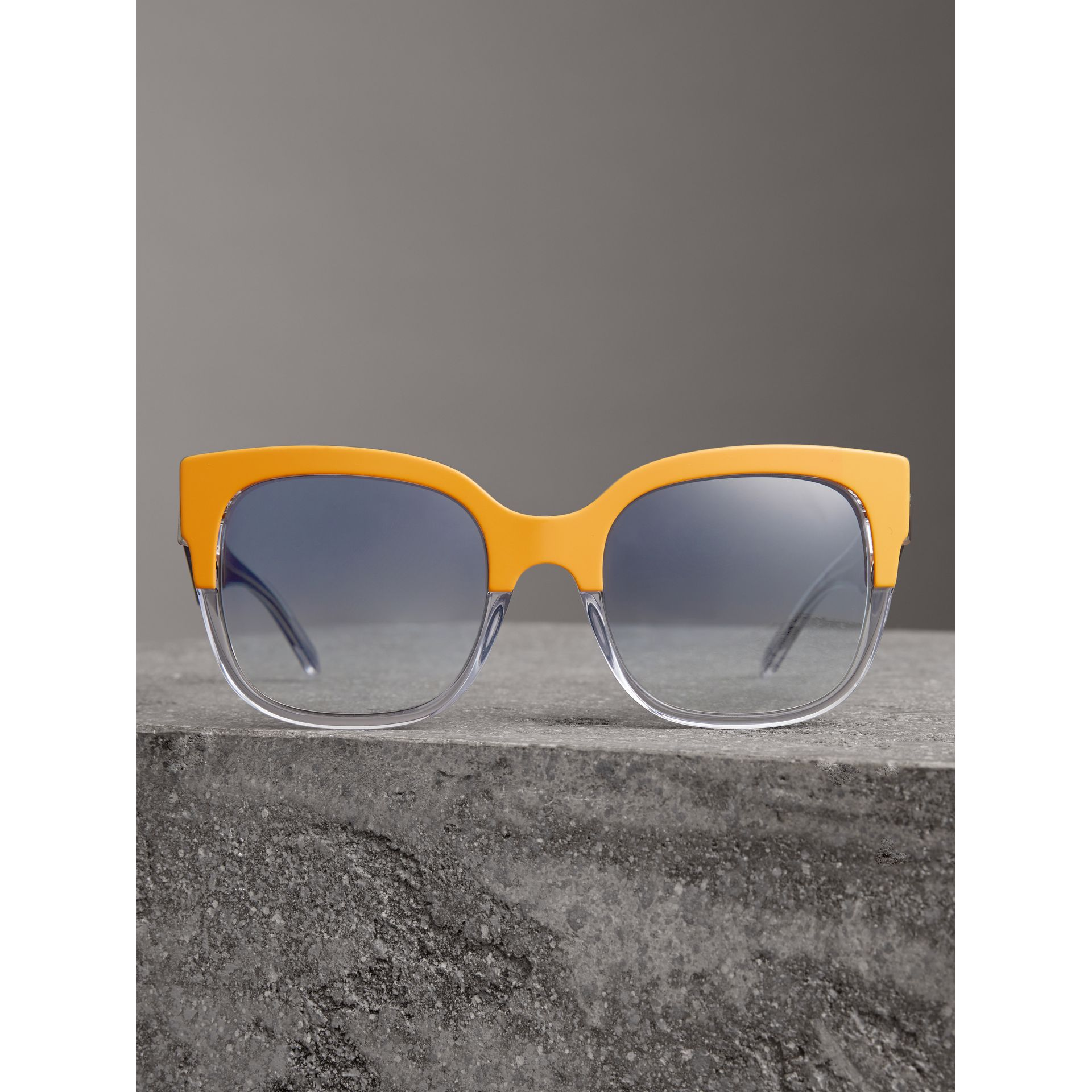 Two-tone Oversize Square Frame Sunglasses in Ochre Yellow - Women | Burberry - gallery image 3