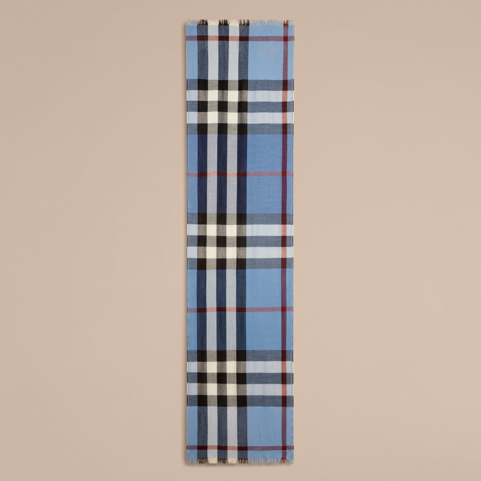 Lightweight Check Wool Cashmere Scarf Pale Sky Blue - gallery image 4
