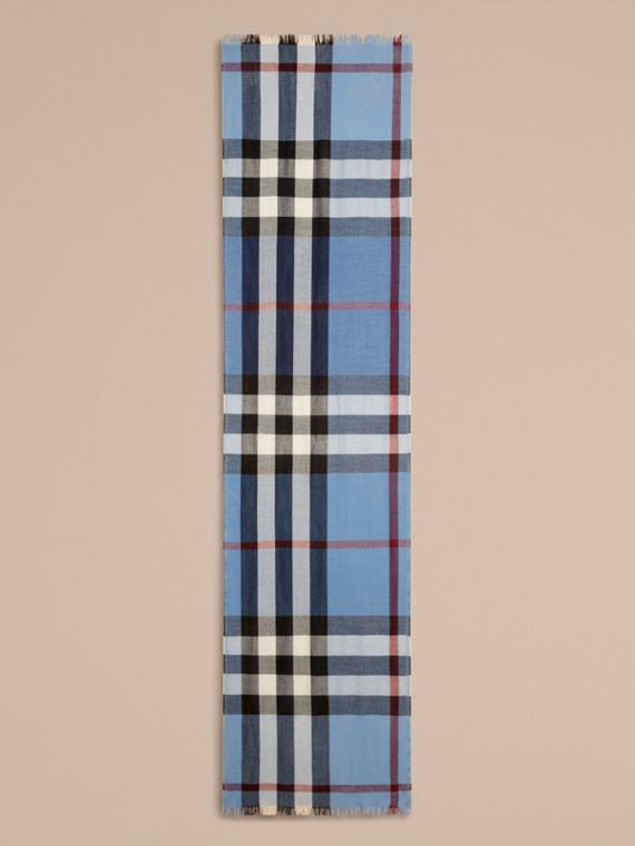 Lightweight Check Wool Cashmere Scarf Pale Sky Blue - cell image 3