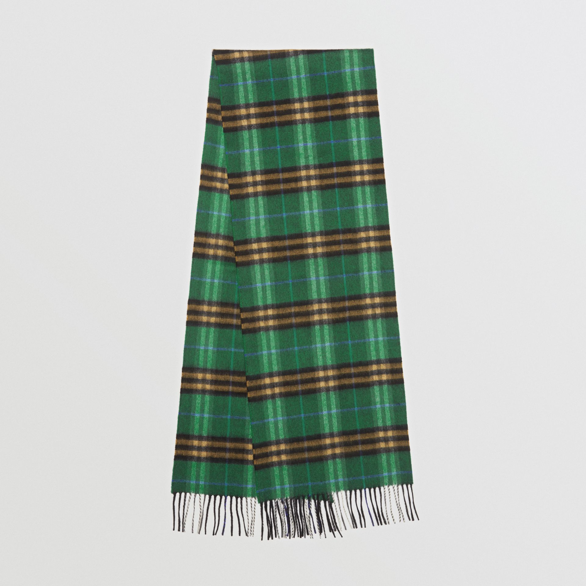 Check Cashmere Scarf in Forest Green | Burberry United Kingdom - gallery image 0