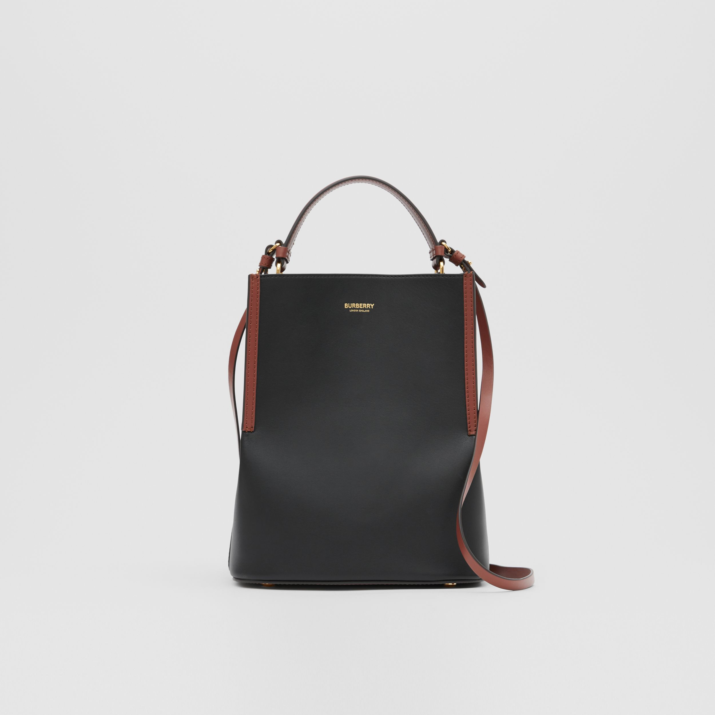 Small Two-tone Leather Peggy Bucket Bag in Black - Women | Burberry Canada - 1