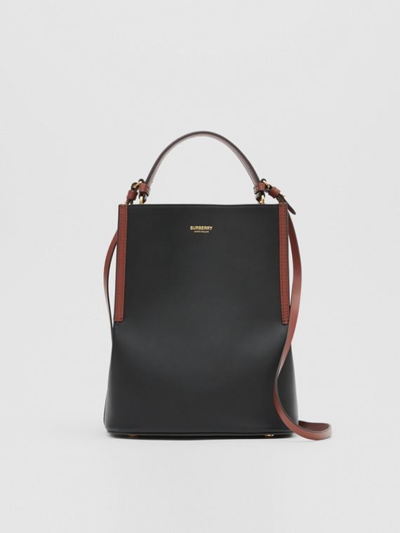 Small Two-tone Leather Peggy Bucket Bag in Black