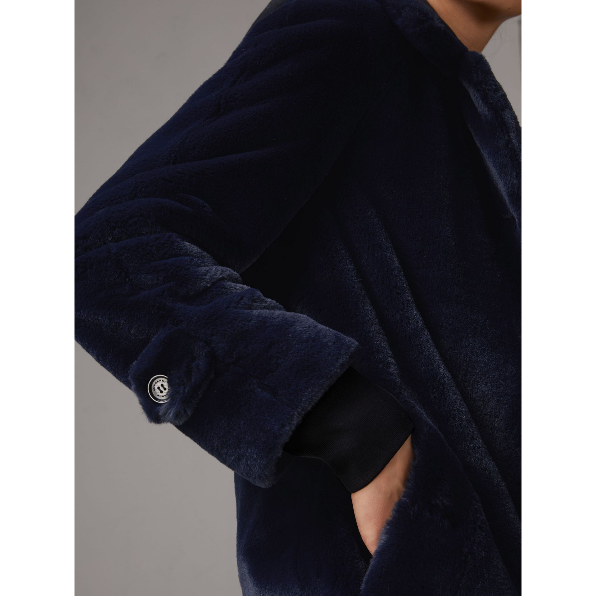 Faux Fur Single-breasted Car Coat in Navy - Women | Burberry - gallery image 2