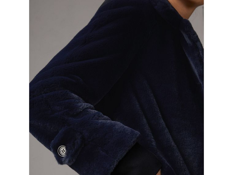 Faux Fur Single-breasted Car Coat in Navy - Women | Burberry - cell image 1