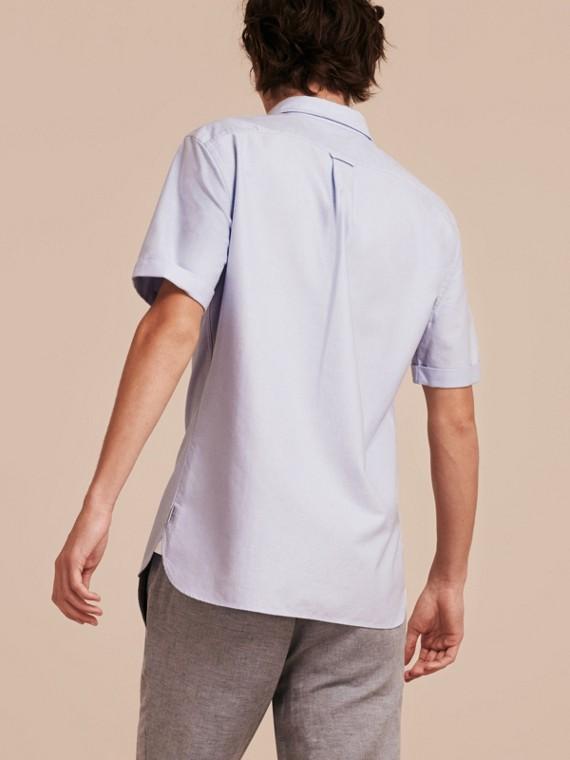 Bleu barbeau Chemise Oxford en coton à manches courtes et détails check Bleu Barbeau - cell image 2