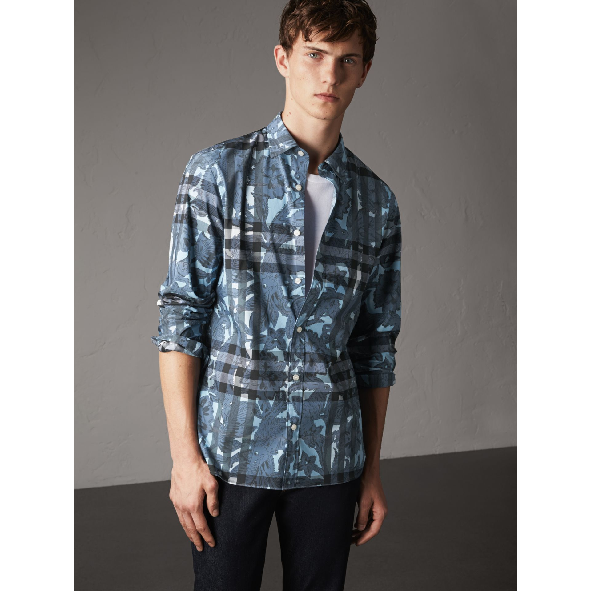 Beasts Print and Check Stretch Cotton Blend Shirt in Stone Blue - Men | Burberry - gallery image 1