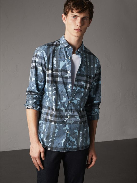 Beasts Print and Check Stretch Cotton Blend Shirt in Stone Blue