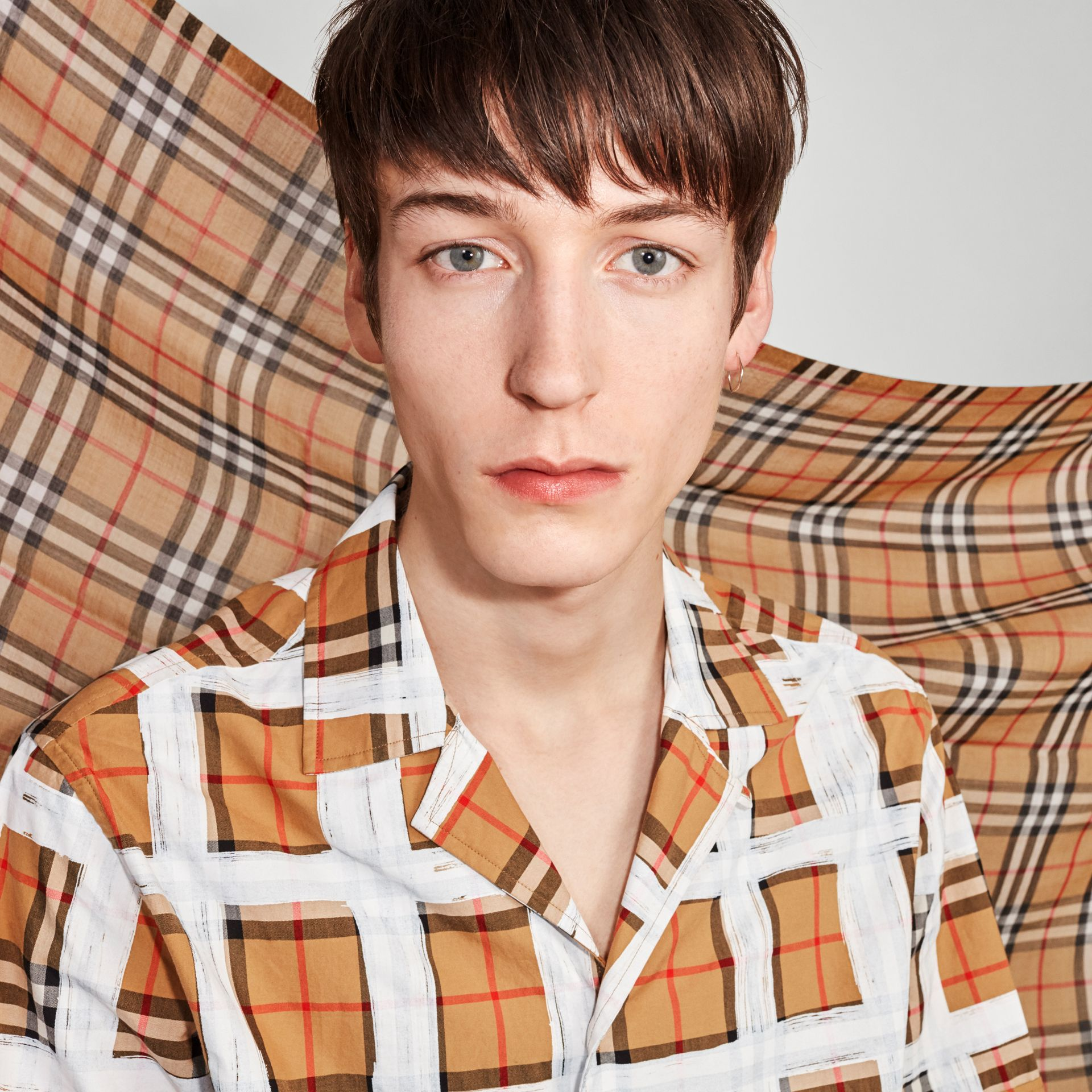 Vintage Check Lightweight Wool Silk Scarf in Antique Yellow | Burberry Singapore - gallery image 7